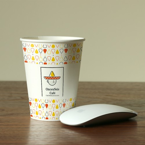Cup brand with the title 'application for onceyseis cafe'