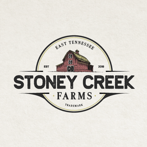 Farm design with the title 'Vintage Logo for Stoney Creek Farms'
