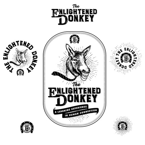 Humorous design with the title 'The Enlightened donkey'