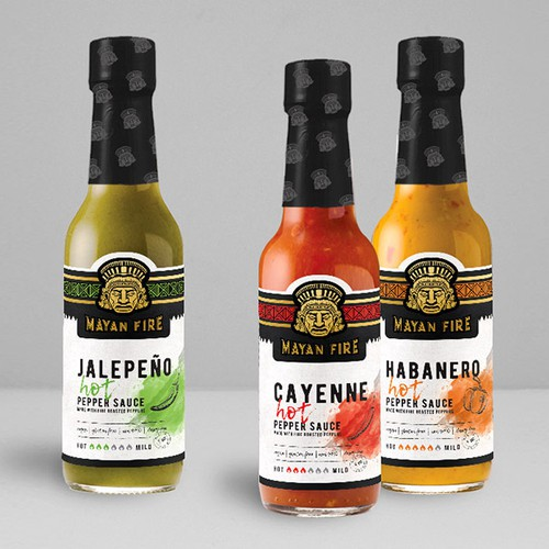 Chili design with the title 'Labels for Mayan Fire Hot Pepper Sauce'
