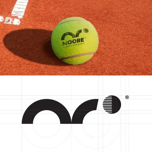 Tennis ball logo with the title 'Tennis + M Logo'