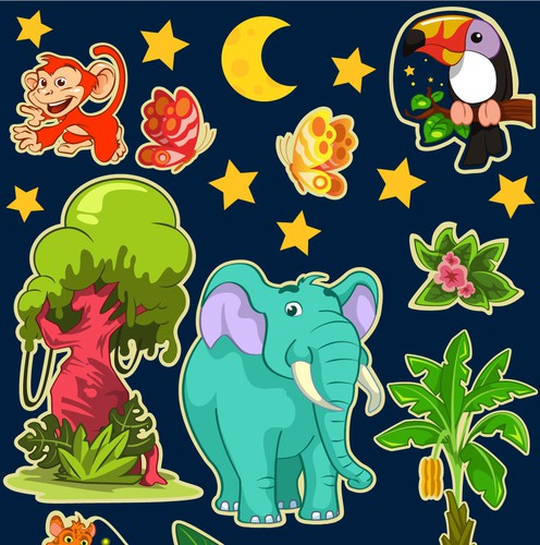 Sticker artwork with the title 'Children stickers illustrations'