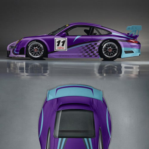 Sporty design with the title 'Design rennauto (racing car) Porsche Cup (991)'