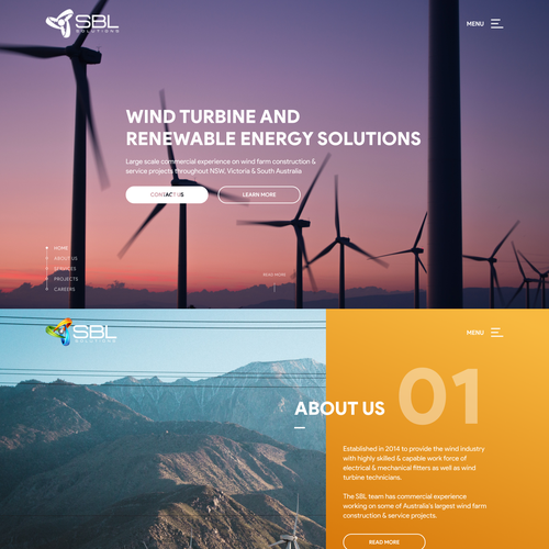 Energy website with the title 'Design Concept for the Wind Turbine Specialist'