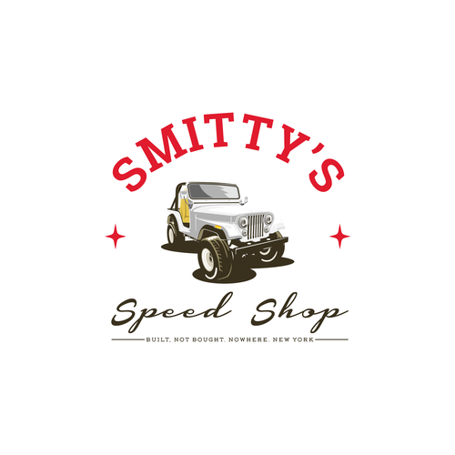 Jeep logo with the title 'Logo Smitty's Speed Shop'