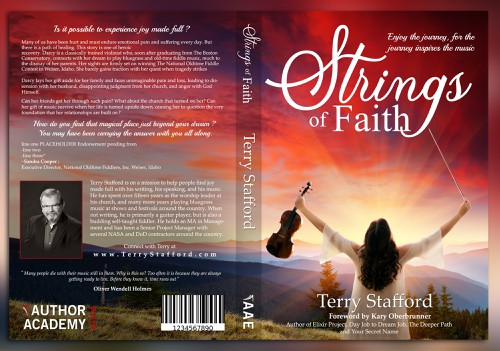 Landscape book cover with the title 'strings of faith book cover'