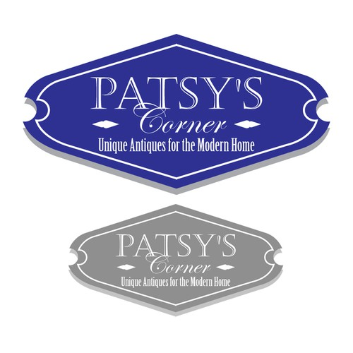 Formal logo with the title 'Simple elegant logo for Patsy's Antique shop'