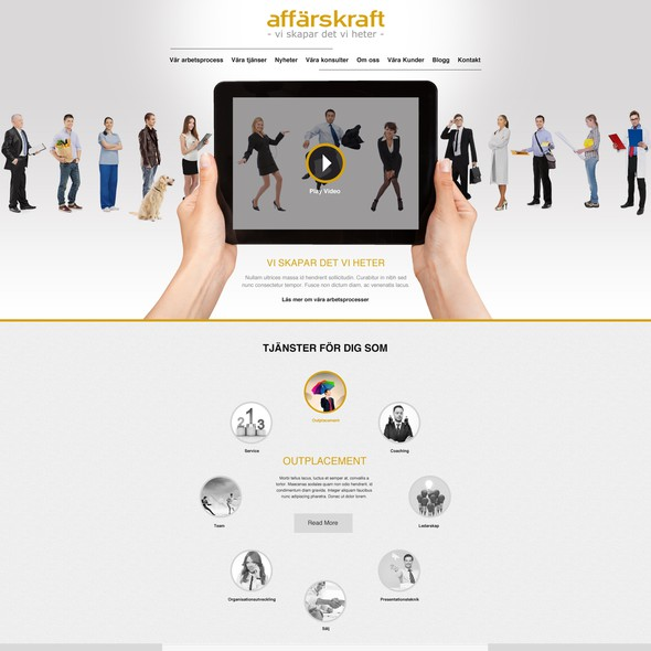 Custom graphic design with the title 'Help Affärskraft  with a new website design'