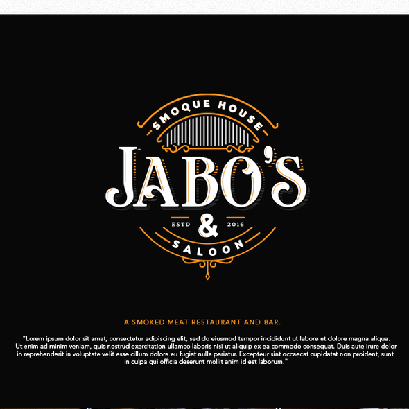 Smokehouse design with the title 'Logo for Jabo's Smoque House & Saloon'