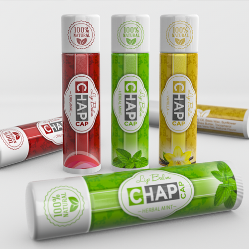 Eye-catching label with the title 'Modern, vibrant design for lip balm'