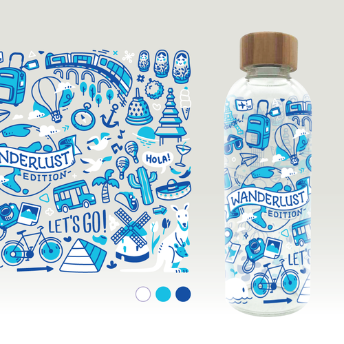 Doodle illustration with the title 'Bottle Cover Illustration'