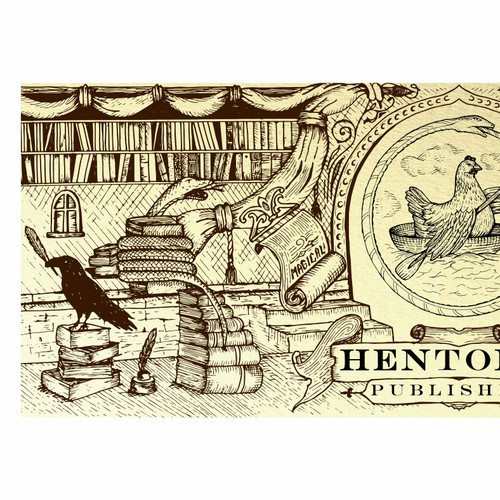 Old-school design with the title 'Hentopan Publishing FB cover'