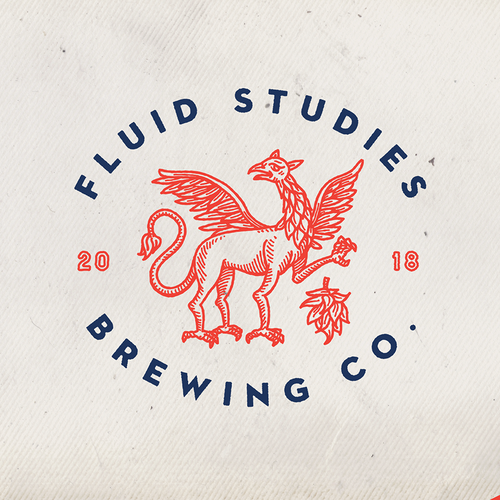 Handcrafted design with the title 'Fluid studies brewing company'