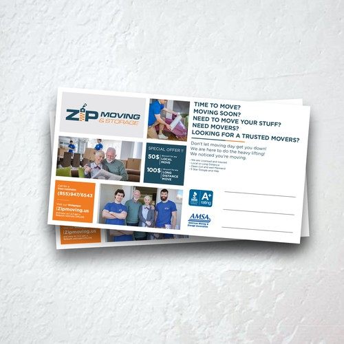 Zip design with the title 'Postcard for Zip Moving and Storage company'