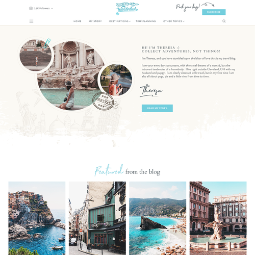 Blogger design with the title 'Travel Blog Homepage'