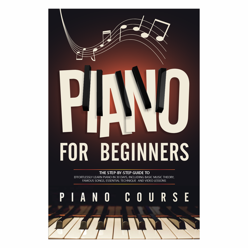 Piano keys design with the title 'Book cover for piano'