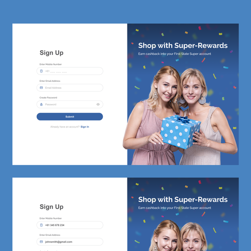 Sign up design with the title 'Sign Up pages'