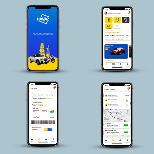 Splash screen design with the title 'Havaz Car rental App'