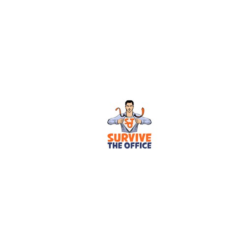Super power logo with the title 'survive ze office logo'