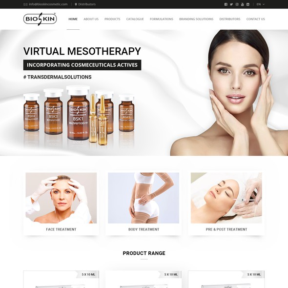 Beauty product website with the title 'Website for Bioskin'