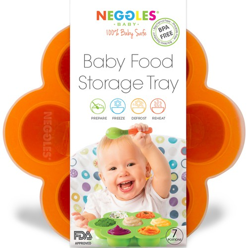 Amazon packaging with the title 'Packaging design and logo re-design for baby food tray'
