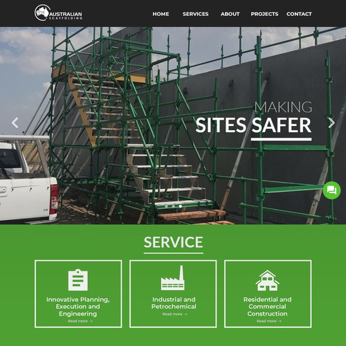Construction website with the title 'Web Page Design for Australian Scaffolding'