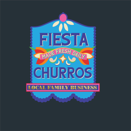 Dia de los Muertos logo with the title 'Fiesta Churros Blue Day of the Dead Flag'