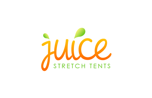 Green and orange logo with the title 'Juice Stretch Tents '