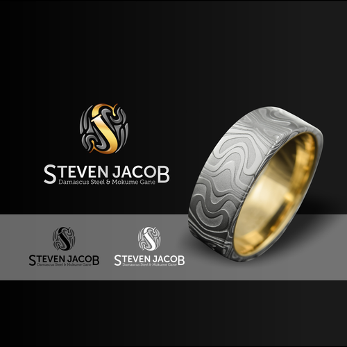 Gold jewelry logo with the title 'STEVEN JACOB'