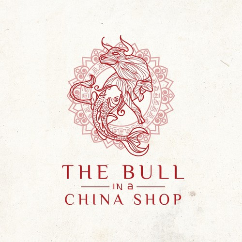 Koi design with the title 'Create a sexy and elegant design package for The Bull in a China Shop, An elegant Asian Izakaya'