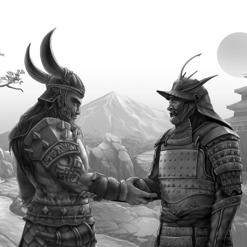 Nordic design with the title 'A Viking Warrior and Samurai (B/W version)'