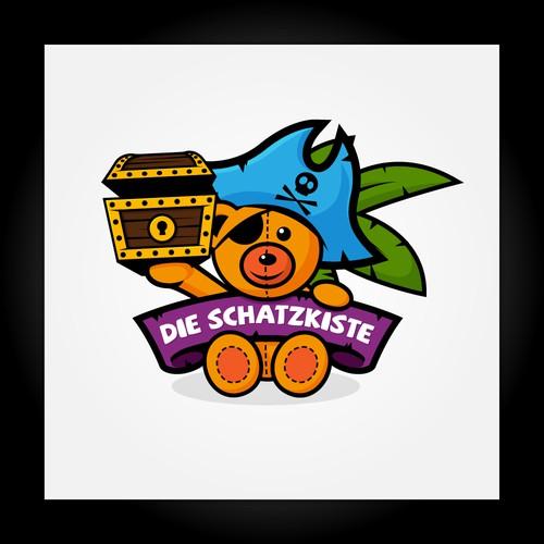 Teddy logo with the title 'Die Schatzkiste'