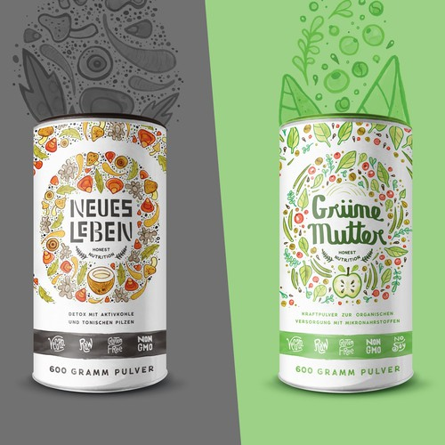 Hand-drawn packaging with the title 'Organic Alpha : Branding & Packaging '