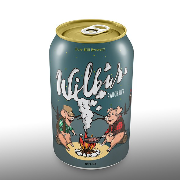 Character label with the title 'Beer can design'