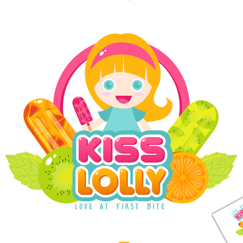 Cream logo with the title 'Kiss Lolly, love at first bite'