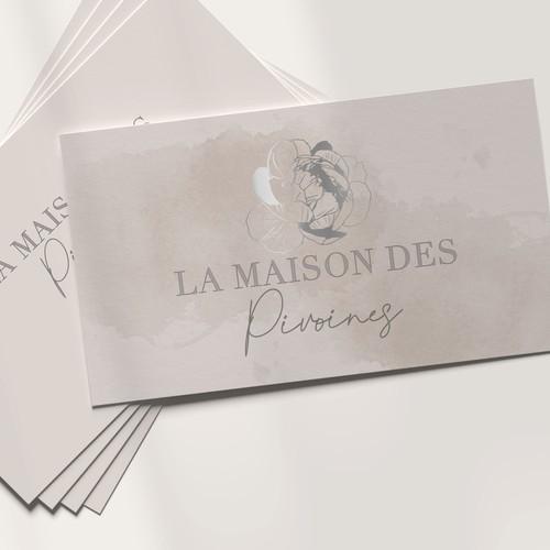 Peony design with the title 'La Maison Des Pivoines'