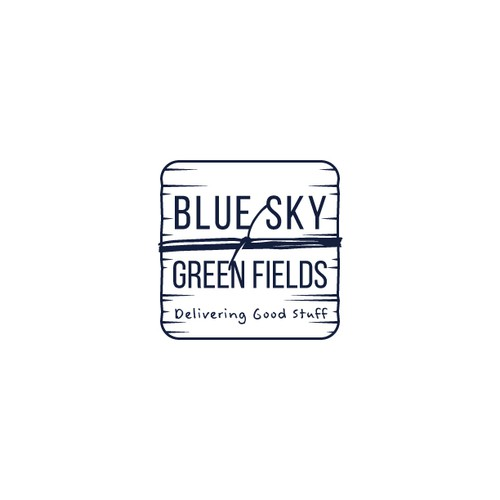 Grocery store design with the title 'Logo Design for Blue Sky Green Fields'