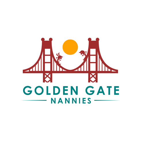 Golden Gate Bridge design with the title 'Golden Gate Nannies'