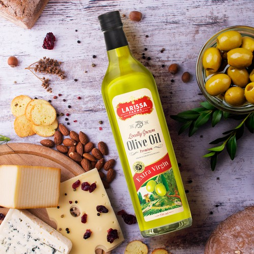 Retail label with the title 'Olive Oil label design'