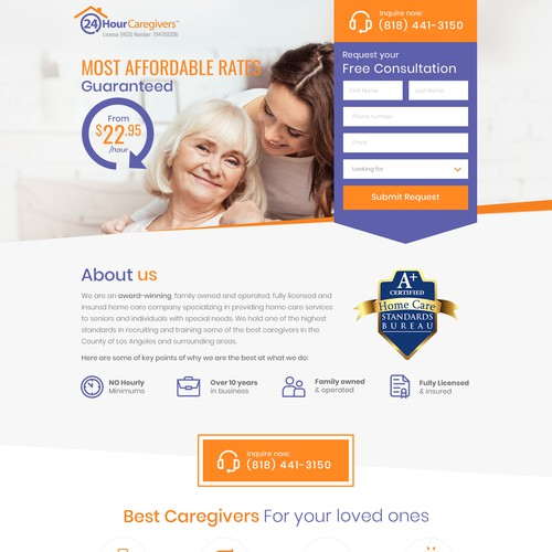 Daycare design with the title 'Caregivers Landing Page Design'