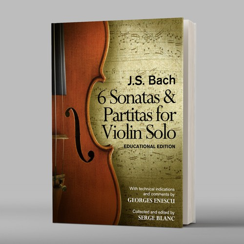 Violin design with the title 'Ebook cover for violin learners and performers'