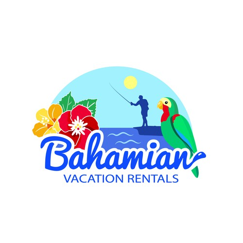 Flower wreath logo with the title 'Logo concept for A cottage in Bahamas'