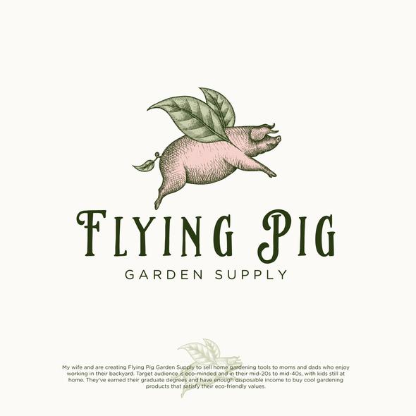 Garden design with the title 'Logo design for Flying Pig Graden Supply'