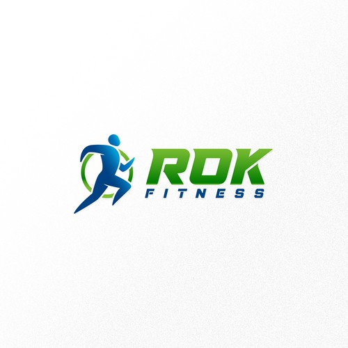 Fitness logo with the title 'Dynamic logo for ROK fitness'