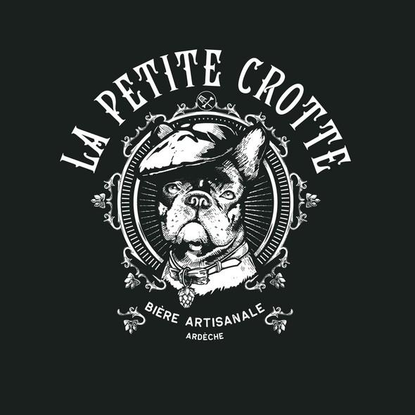 Bulldog design with the title 'La petite crotte'