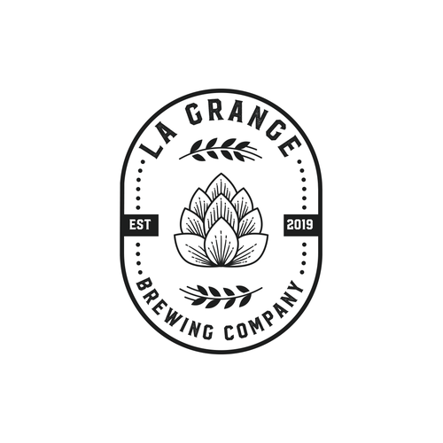 Grayscale logo with the title 'Brewing company logo'