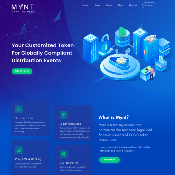 Dark blue design with the title 'Creative Landing Page'