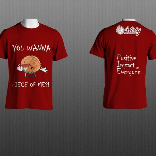 Positive t-shirt with the title ''You wanna peace of me?!' red T-shirt design.'