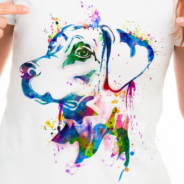 Watercolor t-shirt with the title 'Dog Bright Water Colors'