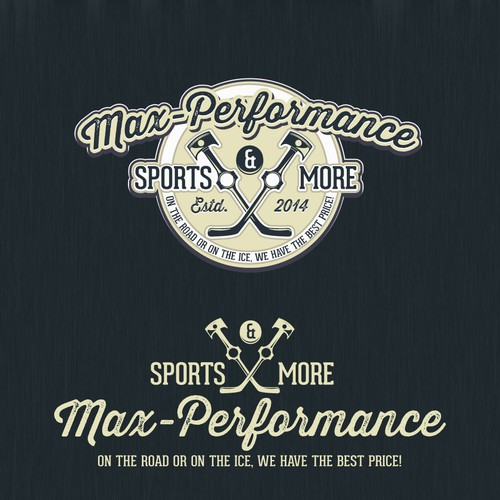 Hockey logo with the title 'Logo for a HIGH PERFORMANCE sporting goods shop including automotive and hockey!'